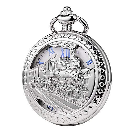 TREEWETO Mens Womens Antique Mechanical Pocket Watch Skeleton Silver Case Steam Train Railroad Roman Numerals by TREEWETO