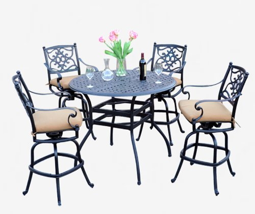 Meadow Décor K5B4-W5448 Kingston 5-Piece Patio Bar Table Set, 48-Inch, Walnut