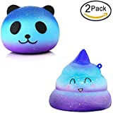CETIM 2 Pack Jumbo Starry Squishies Slowing Rising Kawaii Galaxy Starry Panda And Smilimg Poo Sweet Scented Squishy for Kids Party, Stress Relief Toy, Decorative Props Doll Gift Fun Large (2 PACK)