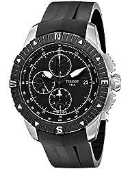 Tissot Mens  T Navigator Black Dial Black Rubber Strap Chronograph Watch T062.427.17.057.00