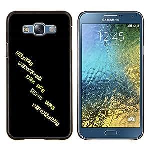For Samsung Galaxy E7 E700 Case , Esperar Problemas y comer para el desayuno- Diseño Patrón Teléfono Caso Cubierta Case Bumper Duro Protección Case Cover Funda