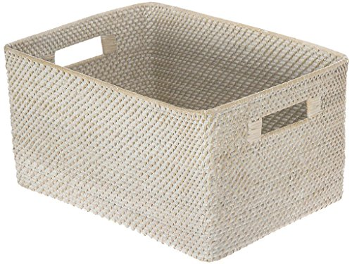 KOUBOO Laguna Rectangular Rattan Storage Basket, White Wash
