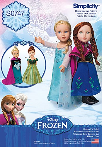 Simplicity Creative Patterns S0747 Frozen Costumes for 18-Inch Doll, Size: Os One Size