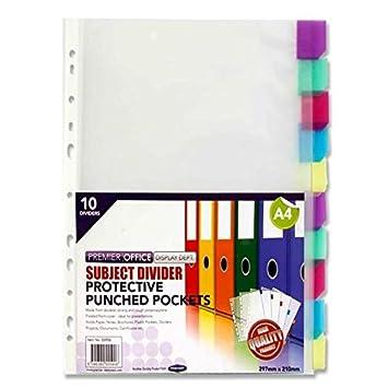 2 Paquetes De 10 A4 bolsillos transparentes con pestañas para archivador de colores. A4. 20 bolsillos y 20 fichas: Amazon.es: Oficina y papelería