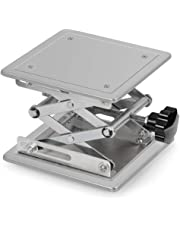 StonyLab Lab Scissors Jack, High Quality 200 x 200mm Stainless Steel Laboratory Support Jack Platform Lab Lift Stand Table, Expandable Lift Height Range from 85mm to 280mm, Support Weight 15KG