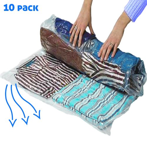 10 Large Vacuum Storage Bags For Saving Space When Packing & Storing Clothes or Bedding. No Need for Pump - Roll & Save 80% Luggage Space. For Flights, Travels, Camping. Double Zipper. 100% Waterproof