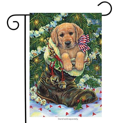 Santa's Helper Christmas Garden Flag Lab Puppy Stocking Stuffer 12.5