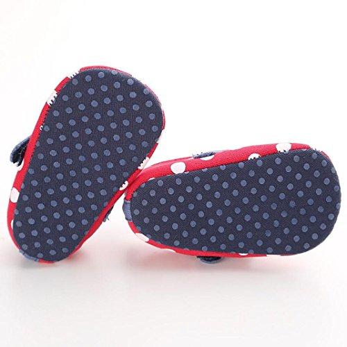 Tefamore zapatos primeros pasos bebes de antideslizante de sole suave de moda invierno de calentar de Cartoon Rojo