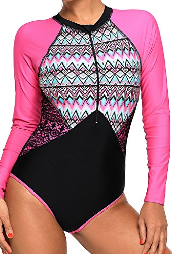 591b960df8e Aleumdr Womens Sexy Long Sleeve Aztec Print Zip Front Bathing Suits One  Piece Swimsuit Rash Guard Swimwear Plus Size XL Size Rosy