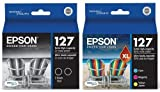 Genuine Epson 127 DURABrite Ultra Extra High Capacity Color (Black/Cyan/Magenta/Yellow) Ink Cartridge 5-Pack (Includes 2 T127120 and 1 each of T127220, T127320, T127420)