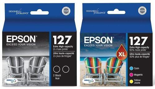 4-PACK Epson GENUINE 127 Black & Color Ink for WORKFORCE 840
