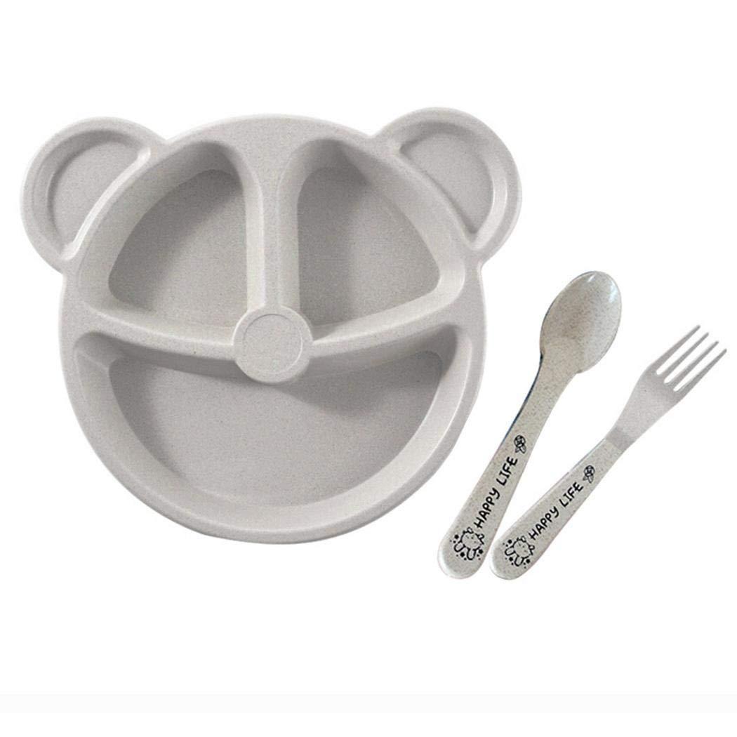 Happeks Cartoon Cute Wheat Straw Children Divided Toddler Plates Kids Tableware Set Gift Sets