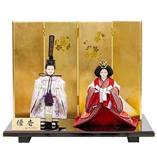 雛人形 優香 立雛 親王飾り 平飾り 会津鱗屋 幅42cm [fz-137] ひな人形   B07K81C99Z