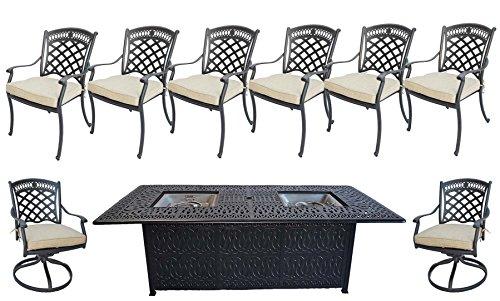 9 Piece Outdoor Dining Set Elisabeth Cast Aluminum Powder Coated Frame Propane Fire Pit Double Burner Table Sunbrella seat cushions.
