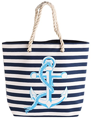 Design Gorgeous with Lightweight Navy Anchor Bag Shopper Pink Beach in Yqqaxrw