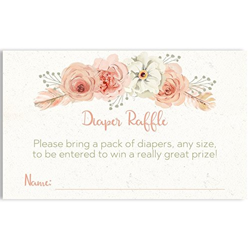 Bohemian Baby Diaper Raffle Tickets, Baby Shower, Girl Baby Shower, Boho Baby Shower, Boho, Floral, Flowers, Pink, Blush, Shabby Chic, Raffle Tickets, Diaper Party, 24 Pack Printed Diaper Inserts]()