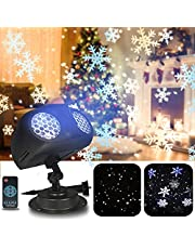 Snowflake Projector, Christmas Projector Lights Outdoor LED Snowfall Projection Lamp with Remote Control, Rotating Waterproof Sparkling Landscape Decorative Lighting for Xmas Party