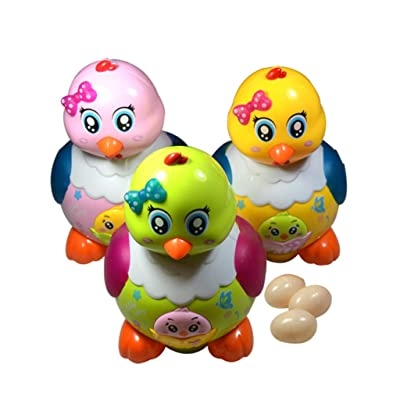 Cher9 Funny Laying Eggs Chicken Hen Toys Electric Musical LED Light Educational Baby Kids Birthday Gifts: Kitchen & Dining