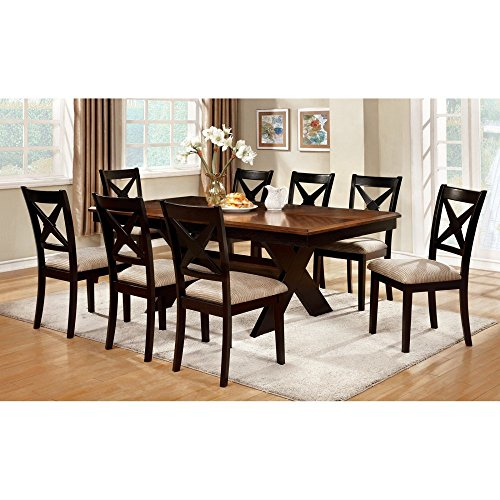Furniture of America Argoyle 9-Piece Trestle Dining Set - Dark Oak / Black