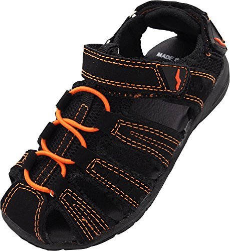 (NORTY - Boys Closed Toe Sandal, Black, Orange 40564-12MUSLittleKid)