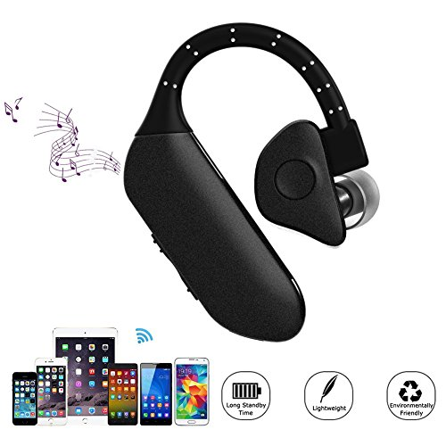 Wireless Sports Bluetooth Earphones, HOMREE Invisible Sweatproof Music Earbuds Earphones Headphones Support Hand-free Calling Micphone for Apple iPhone,Sony ,Samsung,PC.Etc (Black) - Electret Condensor