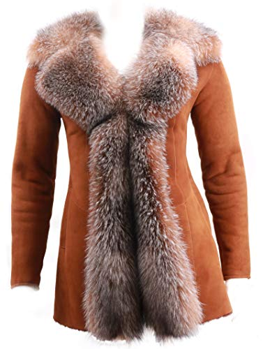 Merino Shearling Sheepskin Coat with Crystal Fox Fur