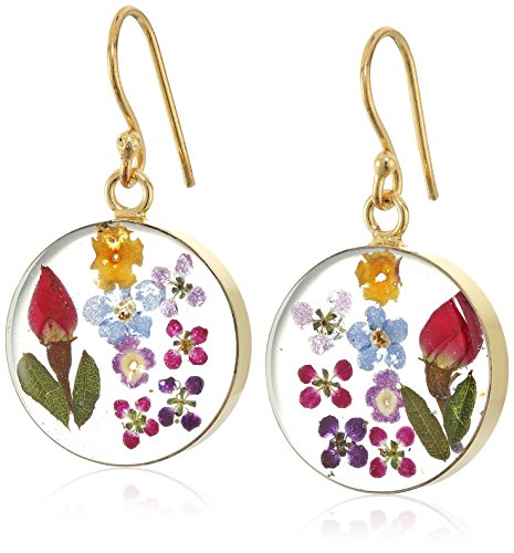 14k Gold Over Sterling Silver Multi-Color Pressed Flower Circle Drop Earrings