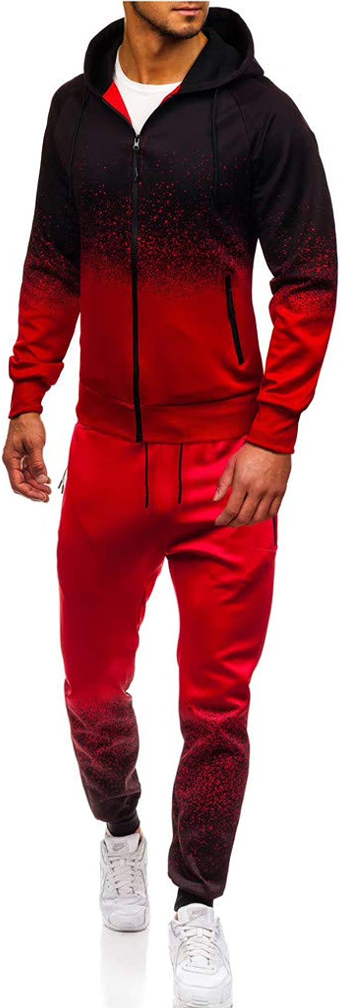 Letter Printed Jogging Sets for Men,Hooded Sweatshirt+Jogger Sweatpants Gym Muscle Sports Suit Leisure Tracksuit by Leegor