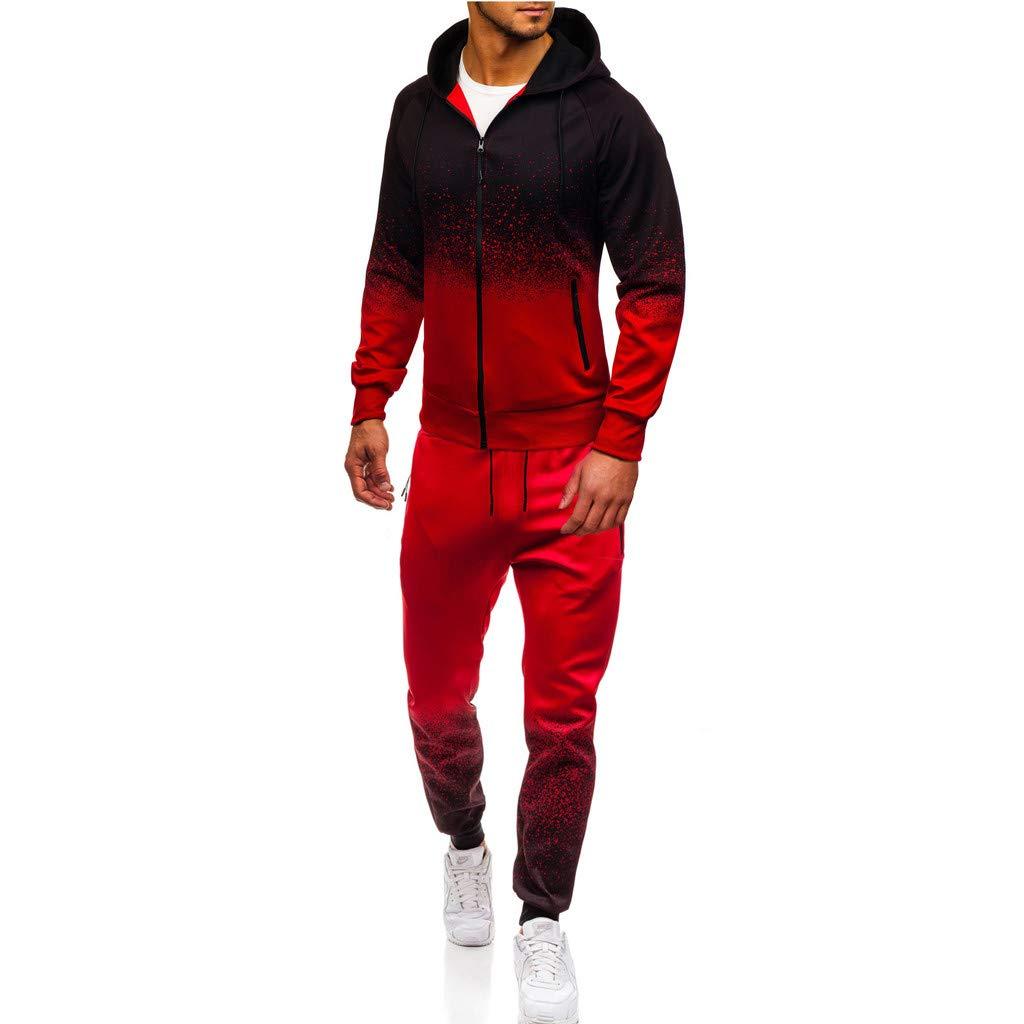 BIKETAFUWY Mens Sport Suit, Man Gradient Color Tracksuit Long Sleeve Full-Zip Hooded Top Sweater+Pants Set Red by BIKETAFUWY