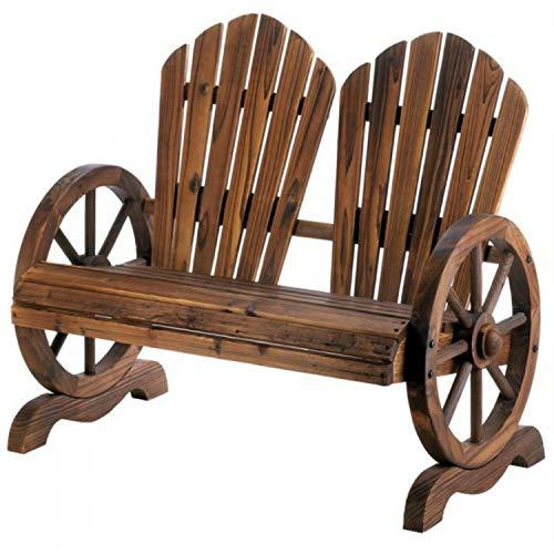 Rustic Wagon Wheel Slat Back Wooden Garden Bench for Two Cross Back Garden Bench
