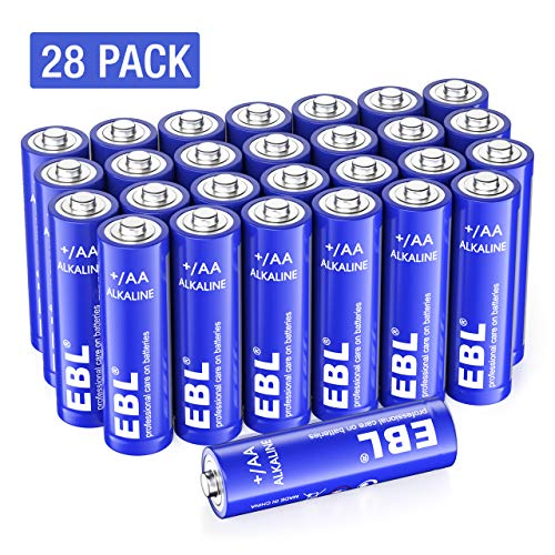EBL AA Batteries - Double A Alkaline Batteries, 1.5V High Performance AA Batteries for Household and Business - Pack of 28