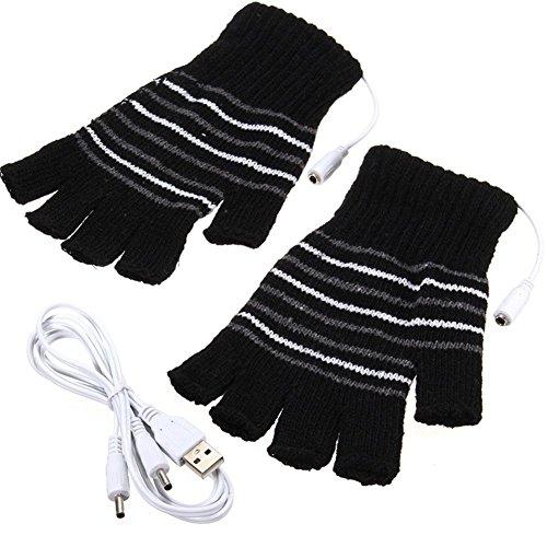 Black USB Powered Stripes Pattern Knitting Wool Heating Heated Gloves Fingerless Hand Warmer Mittens Laptop Computer ()