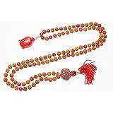 Boho Jewelry Coral HealingBeads Rudraksha Yoga Meditation Japamala with Buddha Pendant