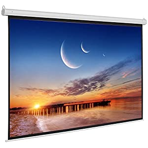 ShowMaven 100-inch 16:9, Matte White Home Theater Electric Motorized Drop Down Projection Projector Screen w/ Remote Control