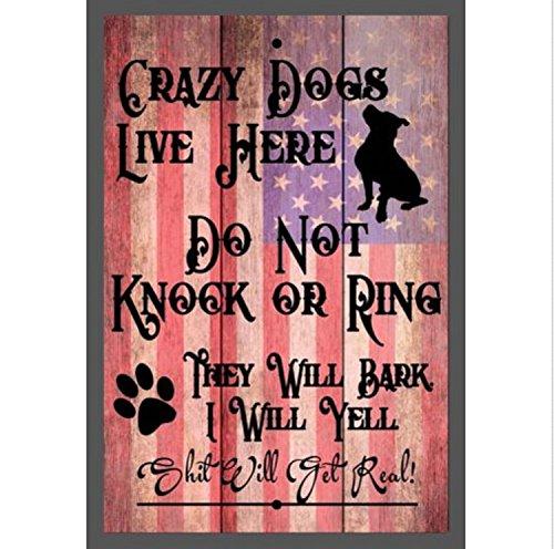 TNS STORE Custom Do Not Knock Crazy Dogs Live Here Aluminum