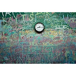CSFOTO 8x6ft Background for Clock on Dirty Chalkboard Photography Backdrop Blackboard Grunge Colorful Graffiti Doodle Childish Back to School Hand Draw Child Photo Studio Props Vinyl Wallpaper