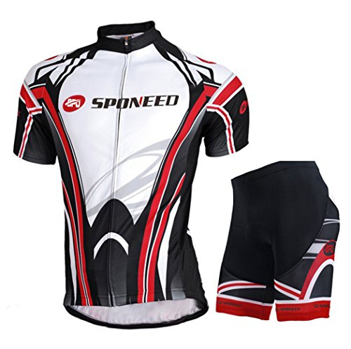 sponeed Cycling Jersey, Men's Cycling Clothing Pants Outfit Jacket Biking Shorts Suit M/US S