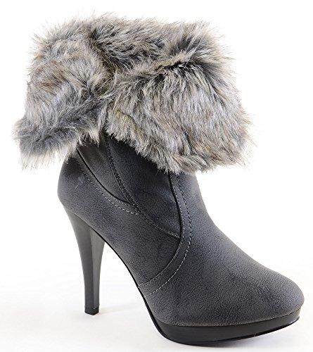 Grijze Vouw Over Faux Lederen Bont Gevoerde Hiel Enkel Warme Dames Laarzen