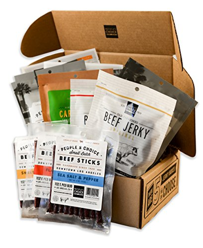 People's Choice Beef Jerky - Jerky Box - One of Everything - Meat Snack Sampler Gift Basket - 12 Items