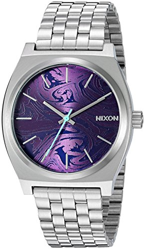Nixon Men's 'Time Teller, Purple' Quartz Stainless Steel Watch, Color:Silver-Toned (Model: A045-230-00)