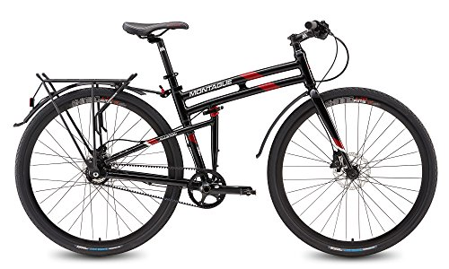 Montague Allston Pavement Hybrid Folding  Bike, Gloss Black/Red (700c, 21-Inch Frame)