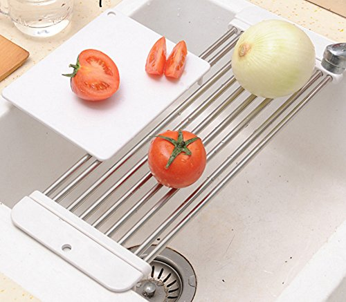 Skyseen Stretchable Sink Drying Rack With Gift Cutting Board,White by Skyseen