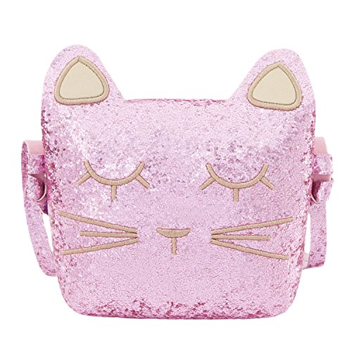 CMK Trendy Kids Cute Cat Toddler Purse for Little Girls, Kids Crossbody and Shoulder Bag Ages 3-10 (82010_GPK) (Cat Sparkle)