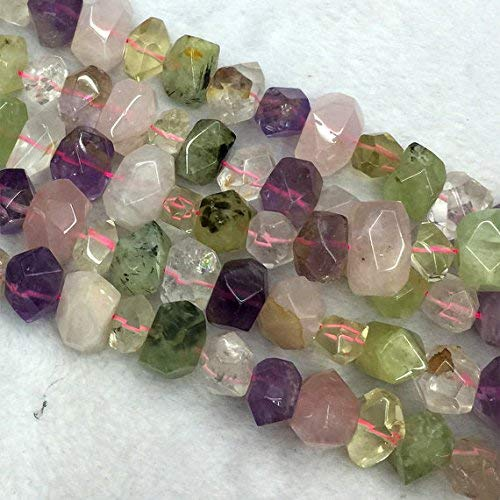 1 Strands Natural Rose Quartz Purple Amethyst Green Prehnite Clear Rock Crystal Hand Cut Faceted Nugget Free Form Loose Mix Stone Beads Size: 11x15mm by Gemswholesale