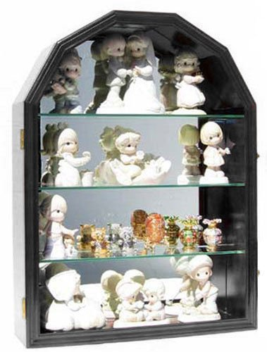 Black Finish Arch Shape Wall Curio Cabinet Display Case Shadow Box Glass Door Mirror Back by Display Case