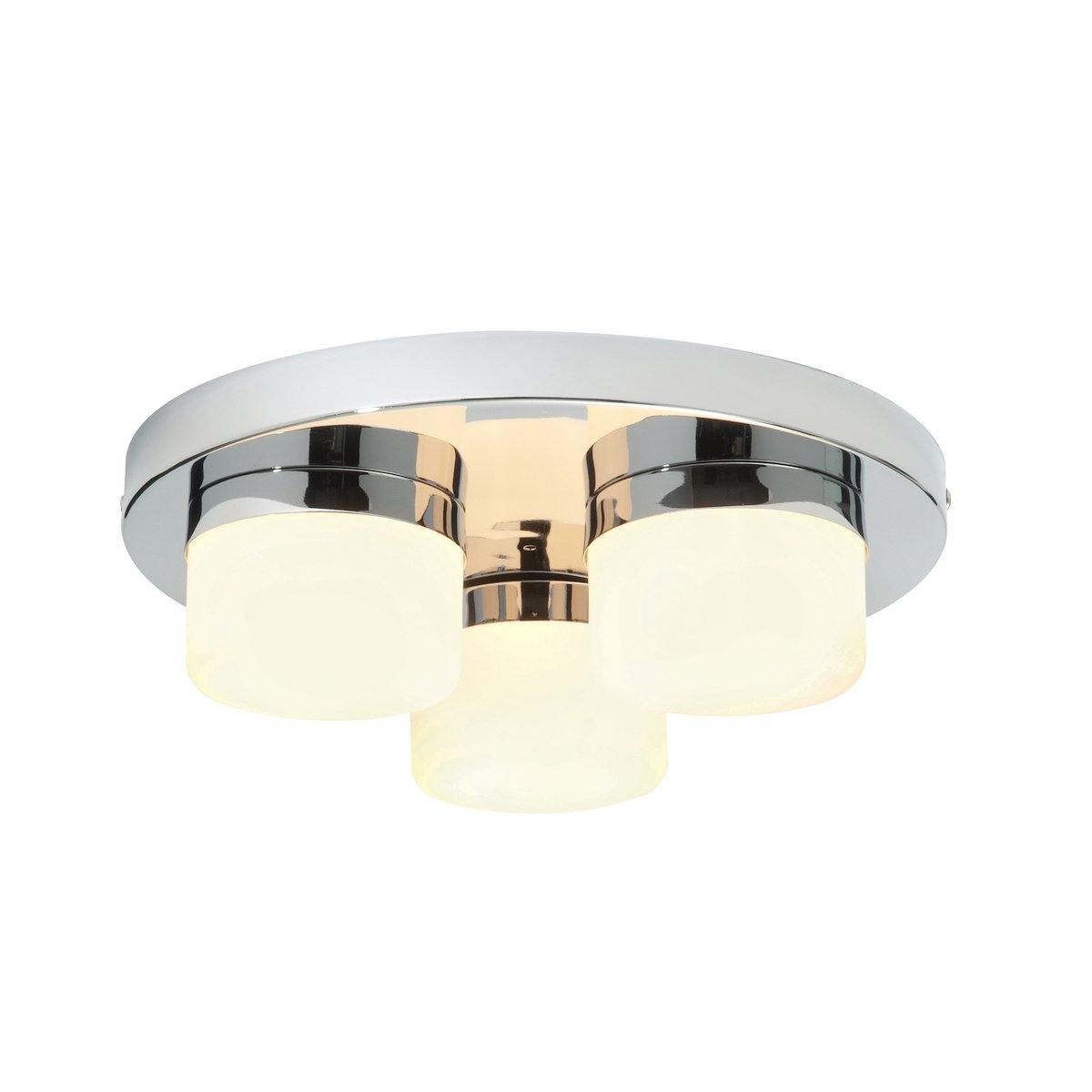 Decorative 3 Light G9 Bathroom Ceiling Light in a Chrome Finish with White Frosted Glass Shades Zone 2 Rated IP44 [Energy Class D] National Lighting