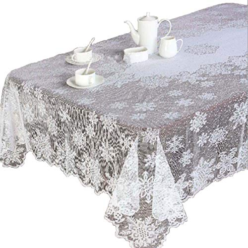 Transer- Table Cloth, Christmas Snowflake Table Cover White
