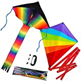 Tintec Large Rainbow Kids Kite, 2 Pack Delta and Diamond Kite with Long Colorful Tail for Outdoor Activities, Summer Beach Fun, Great Gift to Children