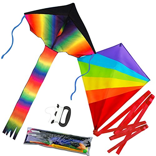Tintec Large Rainbow Kids Kite, 2 Pack Delta and Diamond Kite with Long Colorful Tail for Outdoor Activities, Summer Beach Fun, Great Gift to Children by Tintec