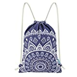 Miomao Drawstring Backpack Canvas Gym Sackpack, Geometric Mandala Style Gymsack with Zipper Pockets, Unisex Casual Bag Yoga Daypack Outdoor Rucksack, 13'' X 18'', Navy Blue